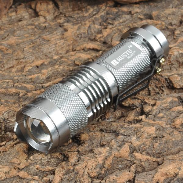 RUSTU RK88 300lm White Zooming Flashlight - Silver (1 x 14500)