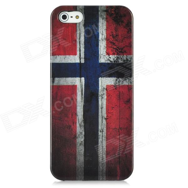 Vintage Norway National Flag Pattern Protective Back Case w/ Screen Protector Set for Iphone 5 - Red london pattern protective plastic back case w front screen protector for iphone 5 grey red