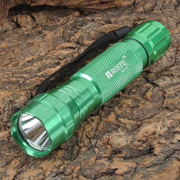 RUSTU R03R 800lm 3-Mode White Flashlight - Green (1 x 18650)