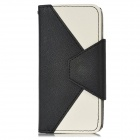 Stylish Protective Flip-Open PU Leather Case w/ Card Holder for iPhone 5 - Black + White