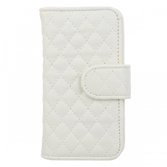 Rhombus Pattern Protective Flip-Open PU Leather Case w/ Card Holder for Iphone 5 - White