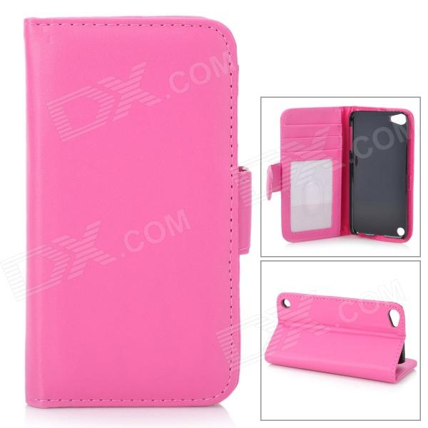 Stylish Protective Flip-Open PU Leather Case w/ Card Holder for Ipod Touch 5 - Deep Pink stylish protective pu leather case w card holder slot for iphone 5 deep pink