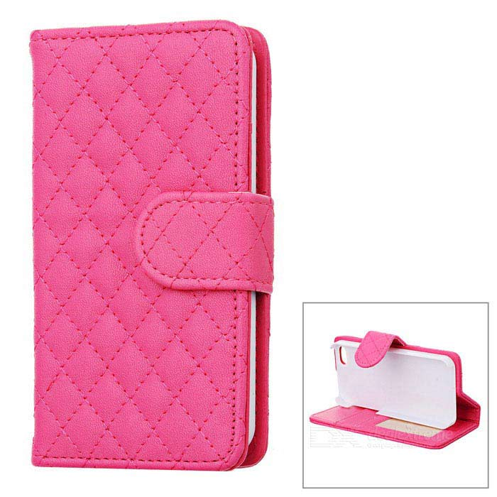 Rhombus Pattern Protective Flip-Open PU Leather Case w/ Card Holder for Iphone 5 - Deep Pink смартфон fly fs512 nimbus 10 4g lte 8gb black