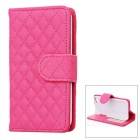 Rhombus Pattern Protective Flip-Open PU Leather Case w/ Card Holder for Iphone 5 - Deep Pink