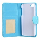 Rhombus Pattern Protective Flip-Open PU Leather Case w/ Card Holder for Iphone 5 - Blue
