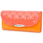 Fashion PU Patent Leather Credit Name Card Wallet Purse - Orange + Light Coral