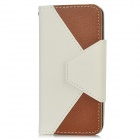 Stylish Protective Flip-Open PU Leather Case w/ Card Holder for Iphone 5 - White + Brown