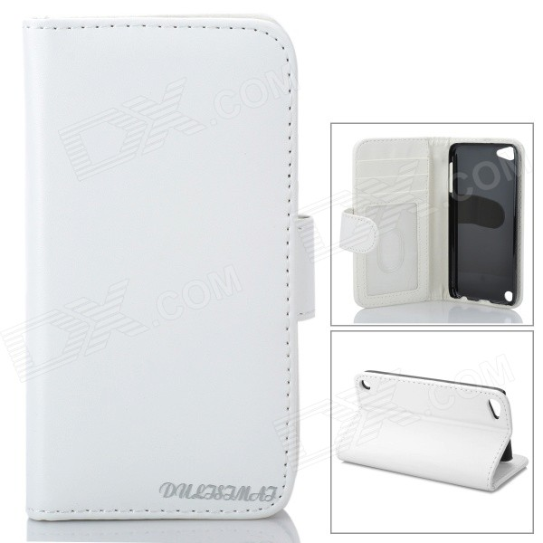 Stylish Protective Flip-Open PU Leather Case w/ Card Holder for Ipod Touch 5 - White - DXQuantity 1 Piece Color White Material PU Leather Compatible Models Ipod Touch 5 Other Features Protects your device from scratches dust and shock; Built-in card holder Packing List 1 x Protective case<br>