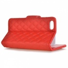 Rhombus Pattern Protective Flip-Open PU Leather Case w/ Card Holder for Iphone 5 - Red