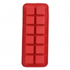 12-Square Soft Silicone Ice Cube Trays Cake Mould - Red
