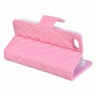 Rhombus Pattern Protective Flip-Open PU Leather Case w/ Card Holder for Iphone 5 - Pink
