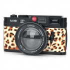 Fashionable Retro Camera Style Leopard Makeup Mirror - Black + Brown