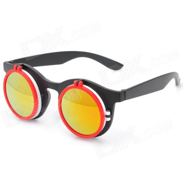 Foldable UV400 Protection Resin Lens Sunglasses - Black + White + Red fashion uv400 protection round shape resin lens sunglasses wine red