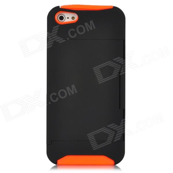 2-in-1 Protective Detachable Back Case w/ Stand Holder for Iphone 5 - Orange + Black protective plastic silicone back case w stand for iphone 5c orange black