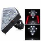 3-Mode 8-LED Neutral White Light Bicycle Cycling Rear Tail Laser Lamp - Transparent White + Black
