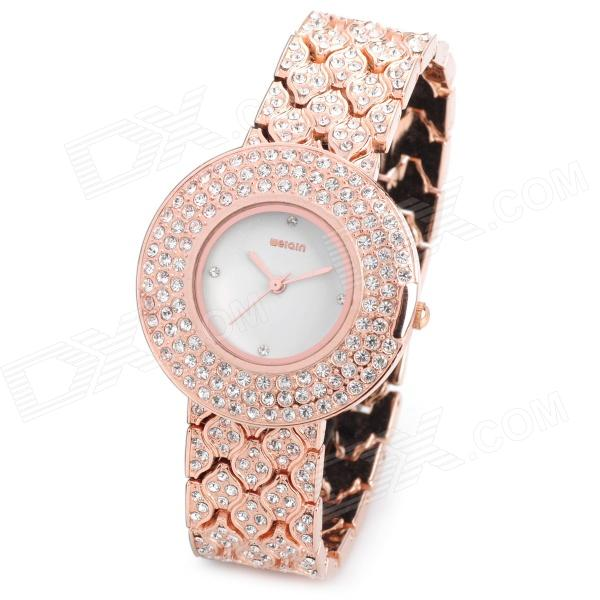 WEIQIN WQ84243 Zinc Alloy Rhinestone Analog Quartz Wrist Watch for Women - Rose Gold (1 x 377) fashion lady s zinc alloy band quartz analog rhinestone waterproof wrist watch silver 1 x 377