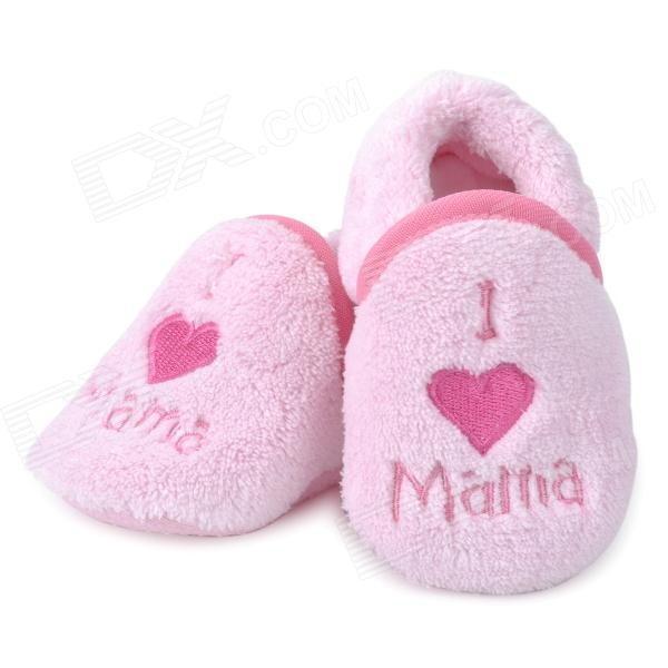 Cute Heart Pattern Baby Cotton + Polyester Anti-Skid Shoes - Light Pink (Pair)