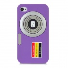 Camera Style Protective Silicone Back Case for Iphone 4 / 4S - Purple