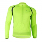 NUCKILY NJ600-L Cycling Riding Long Sleeves Jersey - Fluorescence Green + Black (Size-L)