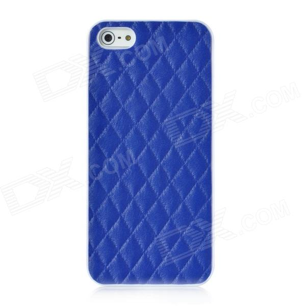 Grid Pattern Protective Plastic Back Case for Iphone 5 - Blue butterfly pattern protective pc plastic case for iphone 5 blue silver
