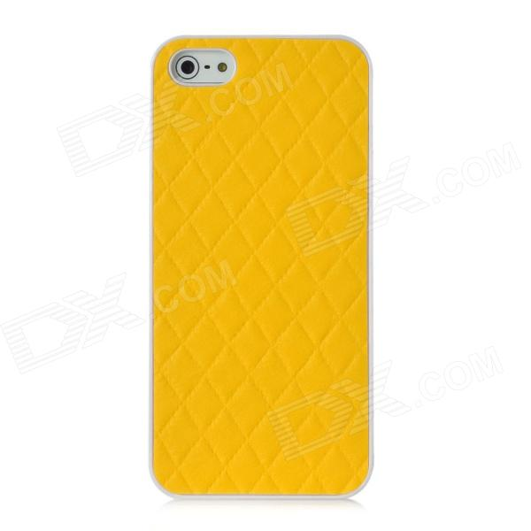 Argyle Pattern PU Leather Coating Design Protective PC Back Case for Iphone 5 - Yellow радиотелефон panasonic kx tga806 rub