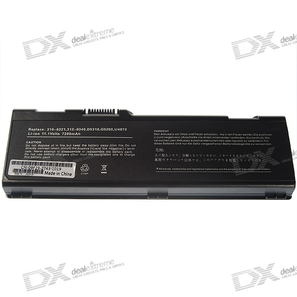 DELL-6000H Compatible 7200mAh Lithium Battery Pack for Dell Laptops (Black)