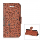Cute Cartoon Patterns Protective PU & Plastic Flip-Open Case for Iphone 5 - Brown + Black