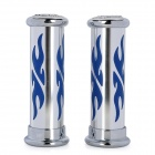 MP036 DIY Cool Flame Pattern Handle Grip Cover for Motorcycle - Blue + Silver (2 PCS)