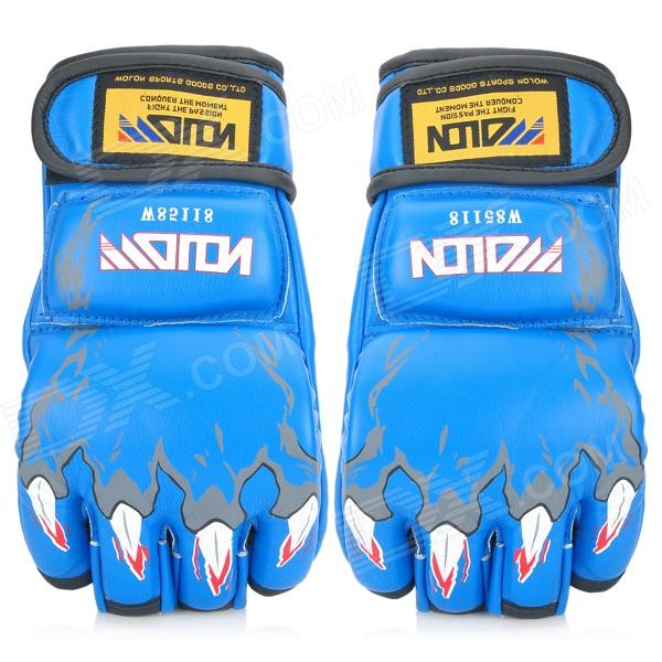 WOLON PU Leather Half-Finger Sandbag / Boxing / Fighting Gloves - Blue (Pair / Free Size) adult thick boxing gloves mma gloves half finger sanda taekwondo fight mma sandbag glove professional training equipment