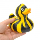 Zebra Stripes Pattern Rubber Latex Cute Duck Bath Toy for Kids - Black + Yellow