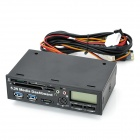 "CH-528U3T 1.5"" LCD 5.25"" PC Chassis Multi-Function Front Panel / PCI-E to USB 3.0 Adapter - Black"