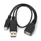 Micro USB Male to USB Female w/ USB Male OTG Cable - Black
