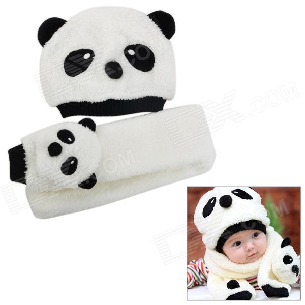 Cute Panda Shaped Kid's Cotton Wool Warmer Hat + Scarf Set - White + Black autumn winter children plus velvet hat scarf set baby lovely cartoon fox print knitted hat kids cap collar boy girl neck warmer