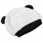 Cute Panda Shaped Kid's Cotton Wool Warmer Hat + Scarf Set - White + Black