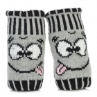 Smile Pattern Yarn Half-Finger Dual-Layer Gloves - Black + Grey (Pair)