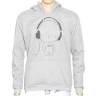 H?D?W 002135 Cute Headphones Man Pattern Causal Cotton Warmer Coat w/ Hat - Grey (Size L)