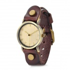 Fashionable Man's Leather Band Quartz Wrist Watch - Coffee + Cinnamon (1 x 377)