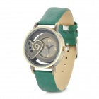 Heart Style Fashionable Lady's PU Band Quartz Wrist Watch - Green + Cinnamon (1 x 377)