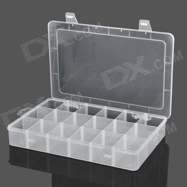18-Compartment Plastic Storage Box for Hardware Tools - Translucent White magnet 2 compartment pp storage box