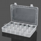 18-Compartment Plastic Storage Box for Hardware Tools - Translucent White