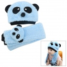 Cute Panda Shaped Kid&#039;s Cotton Wool Warmer Hat + Scarf Set - Blue + Black