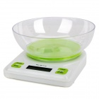 9D06 1.9&quot; LCD Electronic Kitchen Scales - White + Green (5kg Max / 1g Resolution / 2 x AAA)