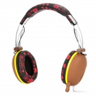 DJ-3685 Stylish Stereo Headphones w/ Microphone - Black + Brown + Red (3.5mm Plug / 139cm)