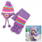 Pineapple Strip Flower Pattern Winter Kid's Wool Warmer Hat + Scarf Set - Purple
