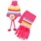 Pineapple Strip Flower Pattern Winter Kid's Wool Warmer Hat + Scarf Set - Deep Pink