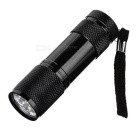 385~395nm 9-LED Purple Light UV Flashlight - Black (3 x AAA)