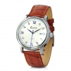 EGNIAN EG-0902 Paris Style Mannes Genuine Leather Band Quartz Analog Armbanduhr - Brown + White