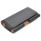 Protective PU Leather Case w/ Belt Hook Clip for Samsung Galaxy Note i9220 - Black