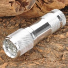 380~400nm 9-LED Purple Light UV Flashlight - Silver (3 x AAA)