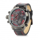 SPEATAK 60145G-6 Men's 3-Quartz Movement Genuine Leather Band Watch - Black + Red (3 x CR2026)